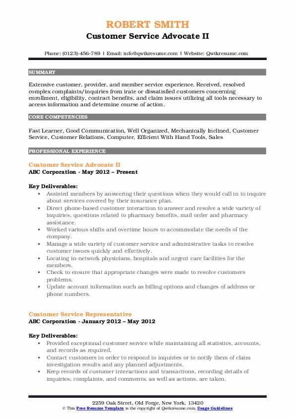 Customer Service Advocate II Resume Example