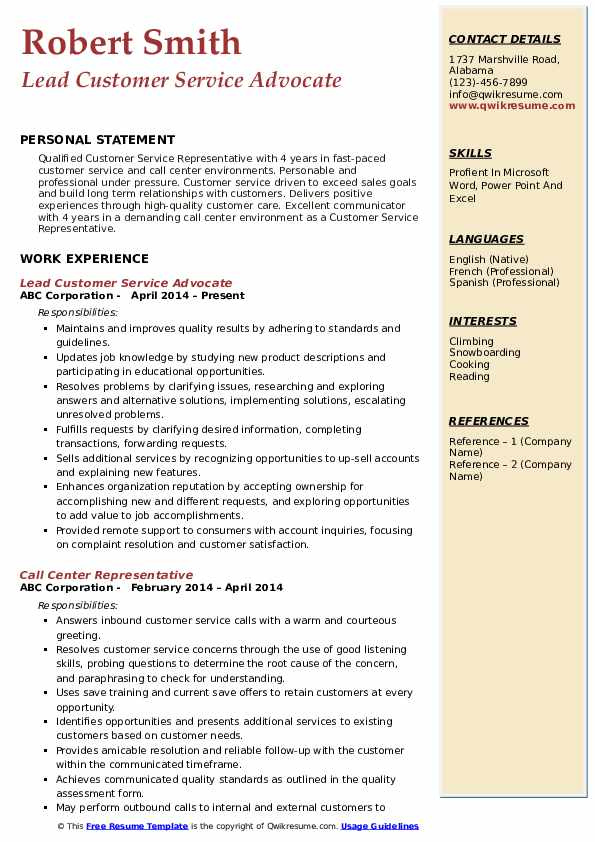 Lead Customer Service Advocate Resume Template