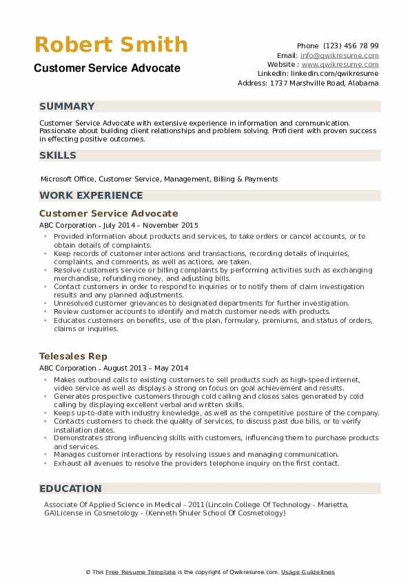 Customer Service Advocate Resume Model