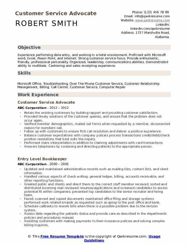 Customer Service Advocate Resume example