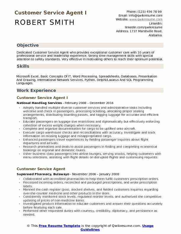 Customer Service Agent I Resume Example