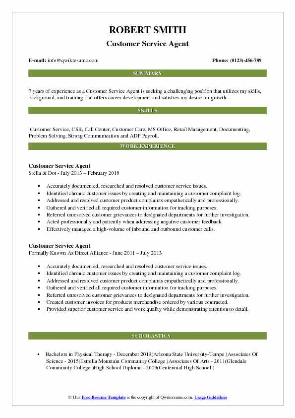 Customer Service Agent Resume Samples Qwikresume