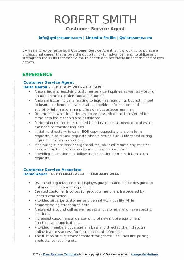 Customer Service Agent Resume Format