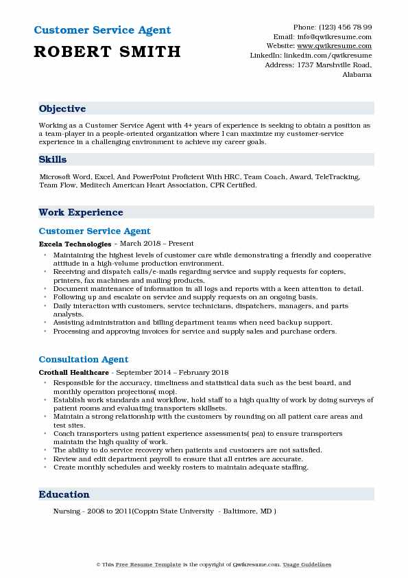 Customer Service Agent Resume Example
