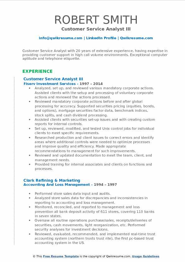 Customer Service Analyst III Resume Template