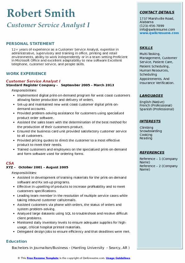 Customer Service Analyst I Resume Template
