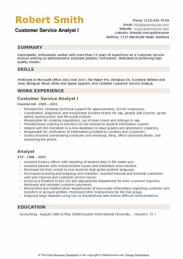 Customer Service Analyst Resume example