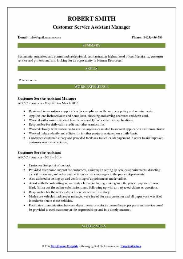 Customer Service Assistant Manager Resume Sample