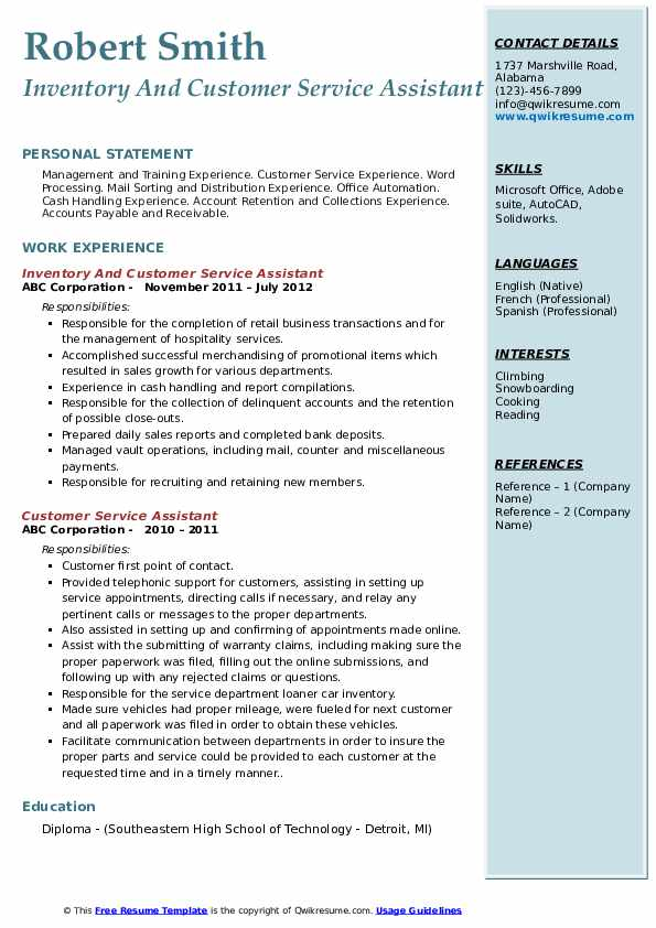Inventory And Customer Service Assistant Resume Template