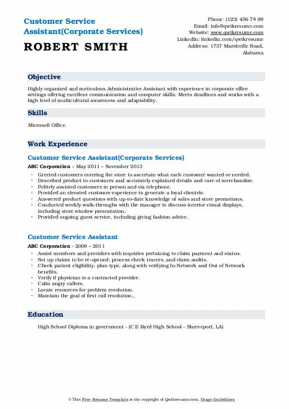 customer service assistant resume samples
