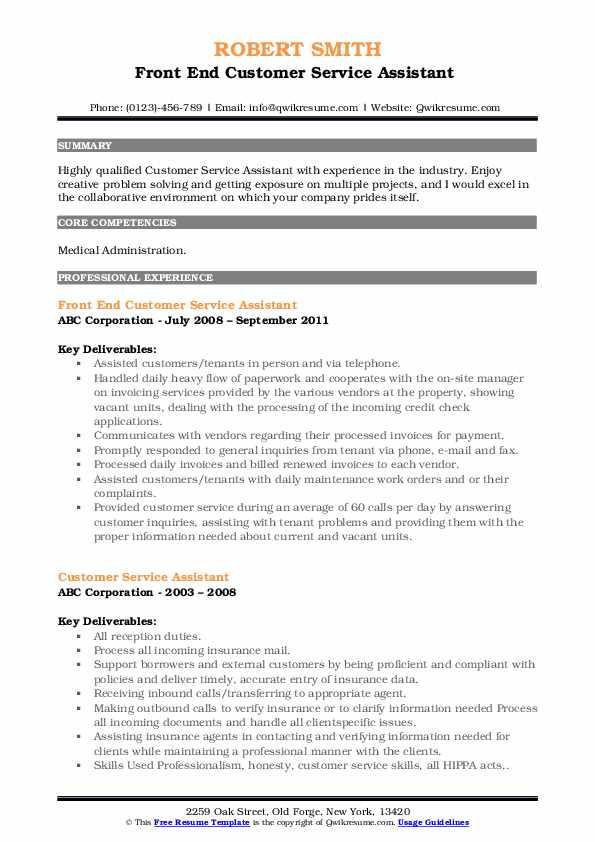 Front End Customer Service Assistant  Resume Format