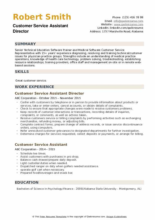 Customer Service Assistant Director  Resume Sample