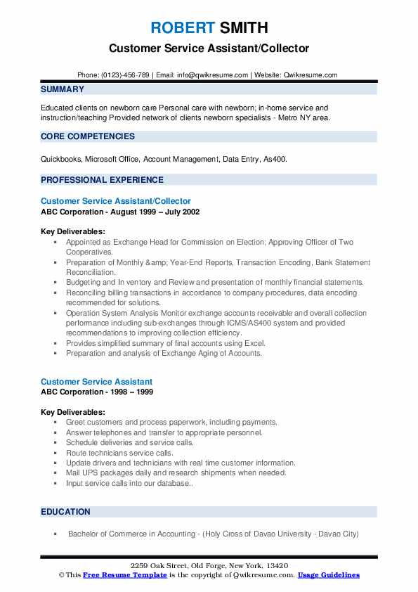 Customer Service Assistant/Collector Resume Format