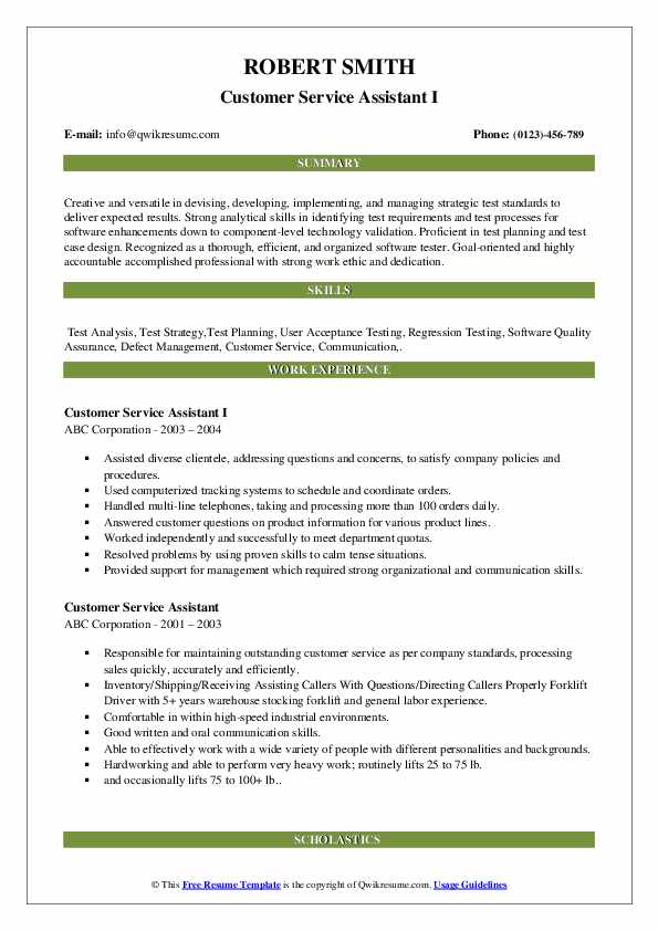 Customer Service Assistant I Resume Template