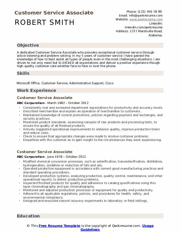 Customer Service Associate Resume Sample