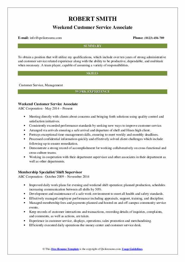 Weekend Customer Service Associate Resume Template