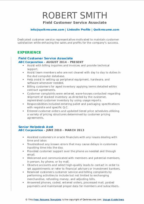 Field Customer Service Associate Resume Example