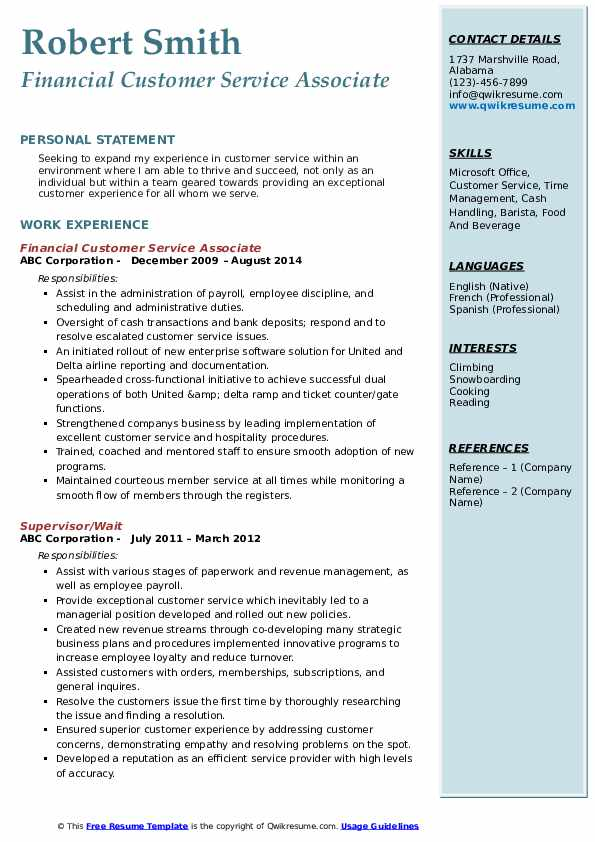 Financial Customer Service Associate Resume Sample