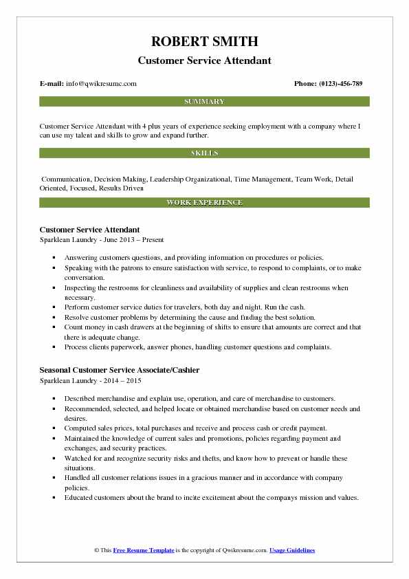 Customer Service Attendant Resume Example