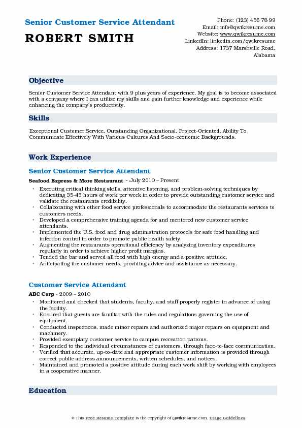 Senior Customer Service Attendant Resume Example