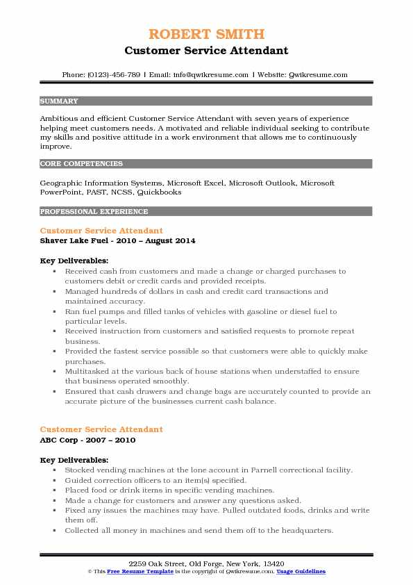 Customer Service Attendant Resume Model