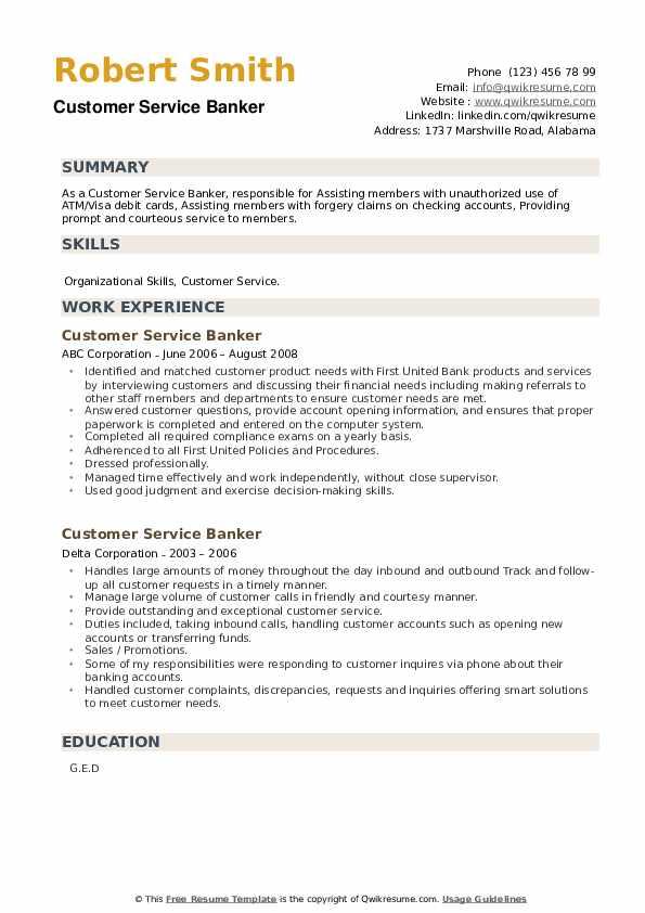 Customer Service Banker Resume example