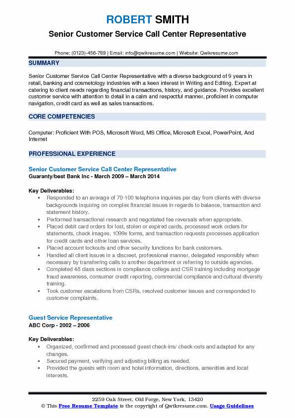 Senior Customer Service Call Center Representative Resume Model