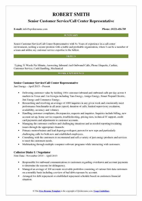 Senior Customer Service/Call Center Representative Resume Sample