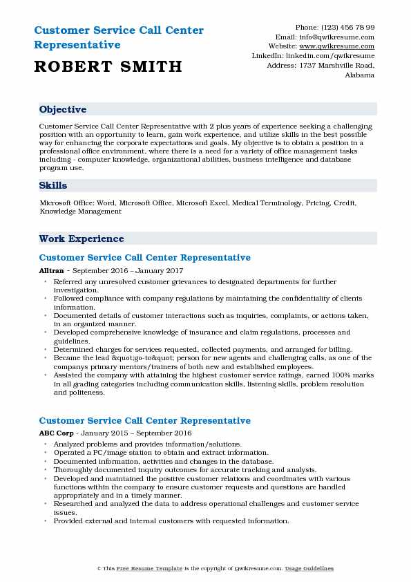 Customer Service Call Center Representative Resume Model
