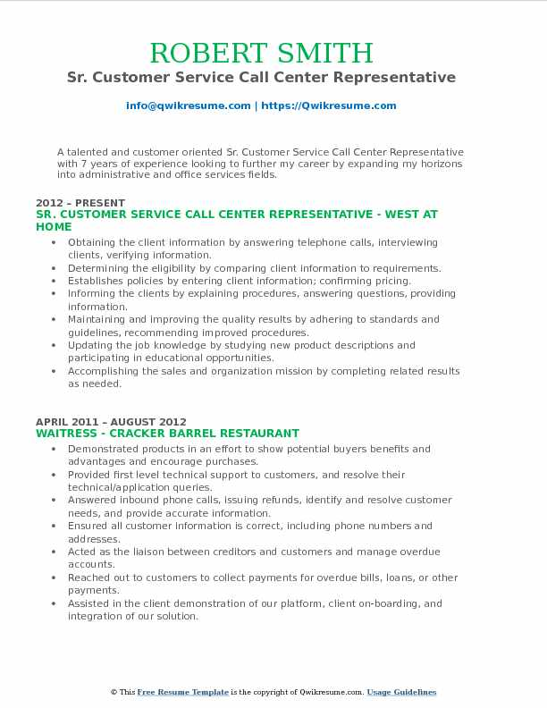 Sr. Customer Service Call Center Representative Resume Sample