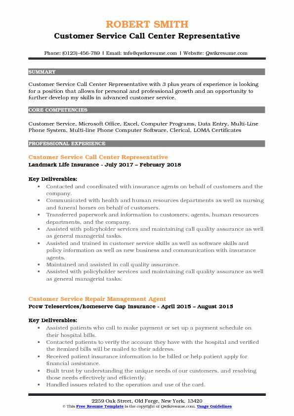 Customer Service Call Center Representative Resume Format