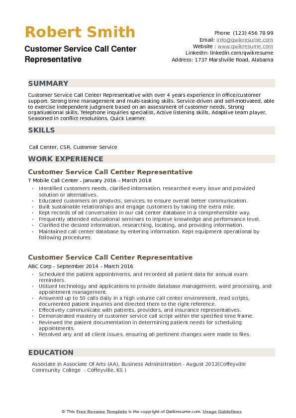 Customer Service Call Center Representative Resume example