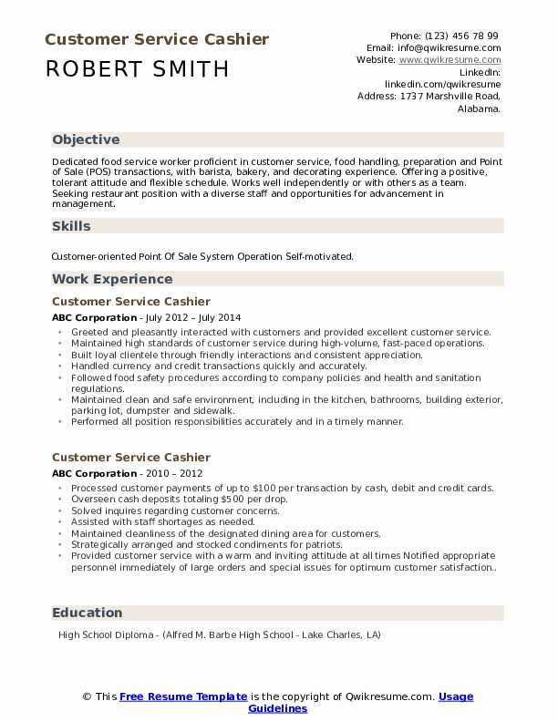 Customer Service Cashier Resume Samples Qwikresume
