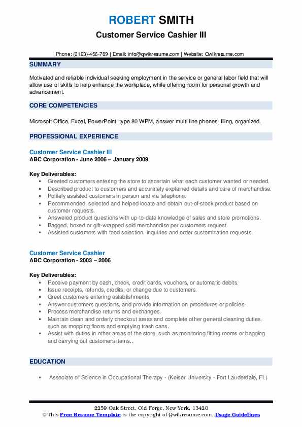 Customer Service Cashier III Resume Example