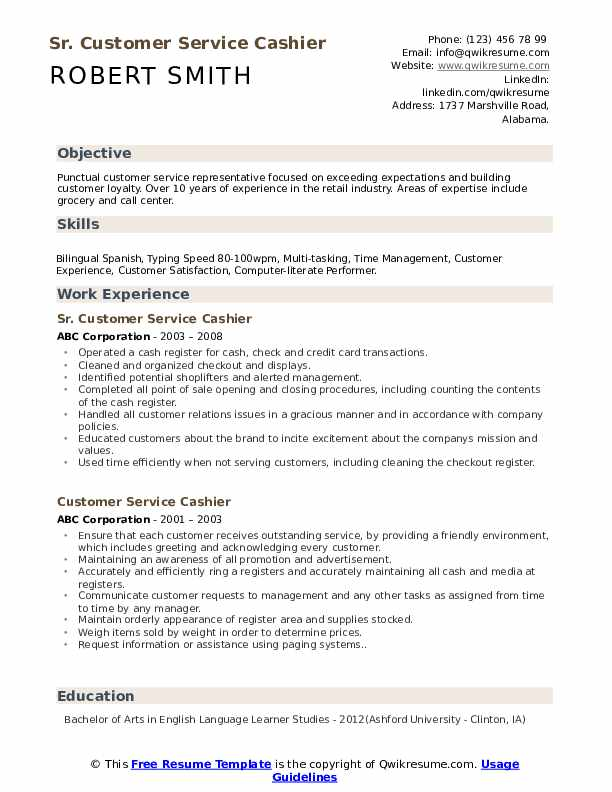Sr. Customer Service Cashier Resume Example