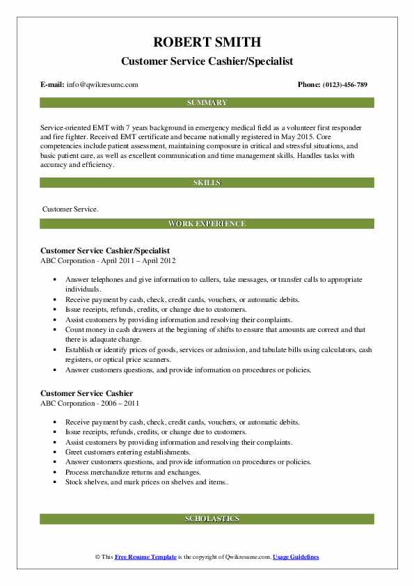 Customer Service Cashier/Specialist Resume Model