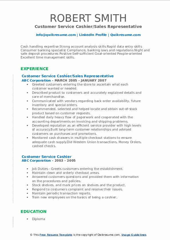 Customer Service Cashier/Sales Representative Resume Format