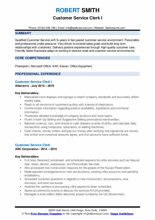 Customer Service Clerk Resume Samples | QwikResume