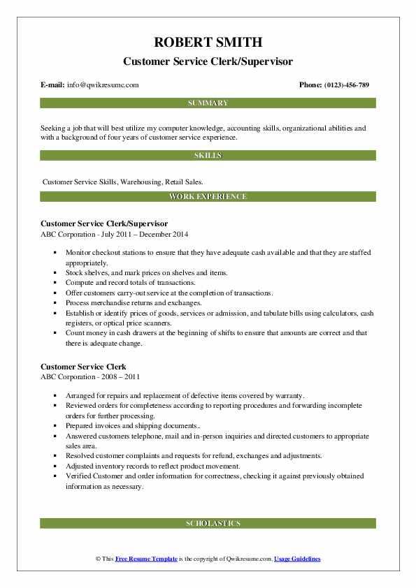 Customer Service Clerk/Supervisor Resume Format