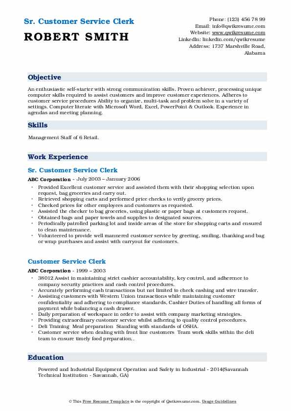Sr. Customer Service Clerk Resume Example