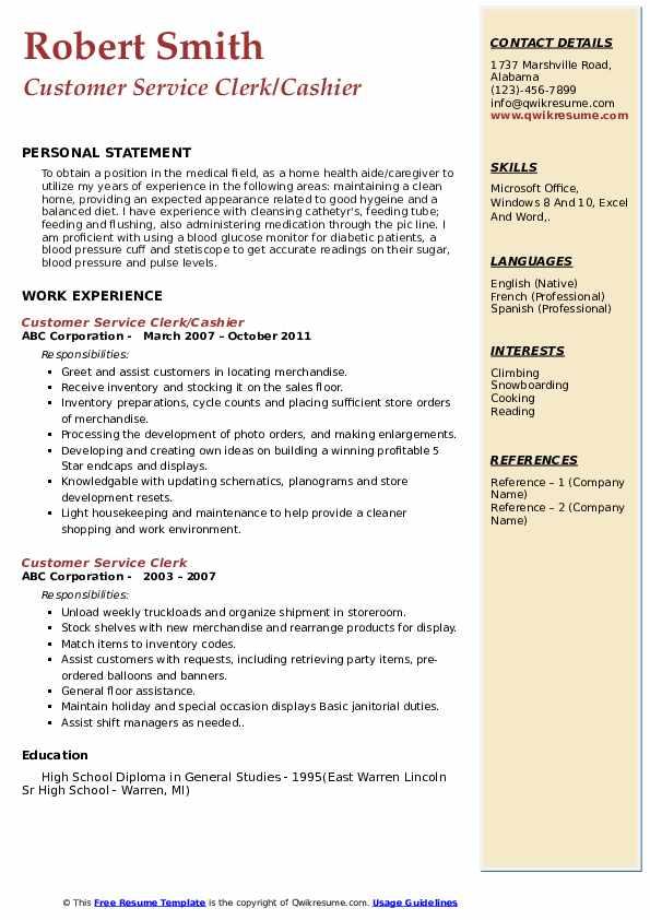 Customer Service Clerk/Cashier Resume Format