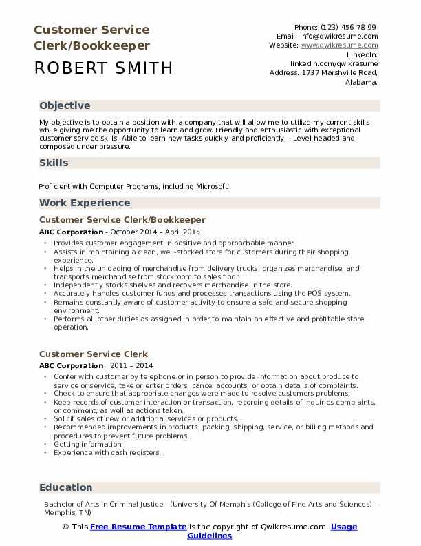 Customer Service Clerk/Bookkeeper  Resume Model