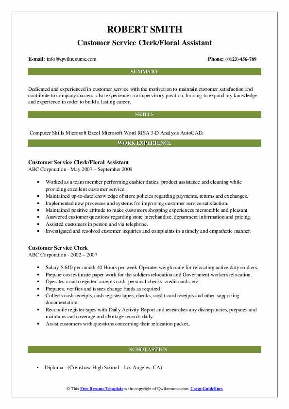 Customer Service Clerk/Floral Assistant Resume Template