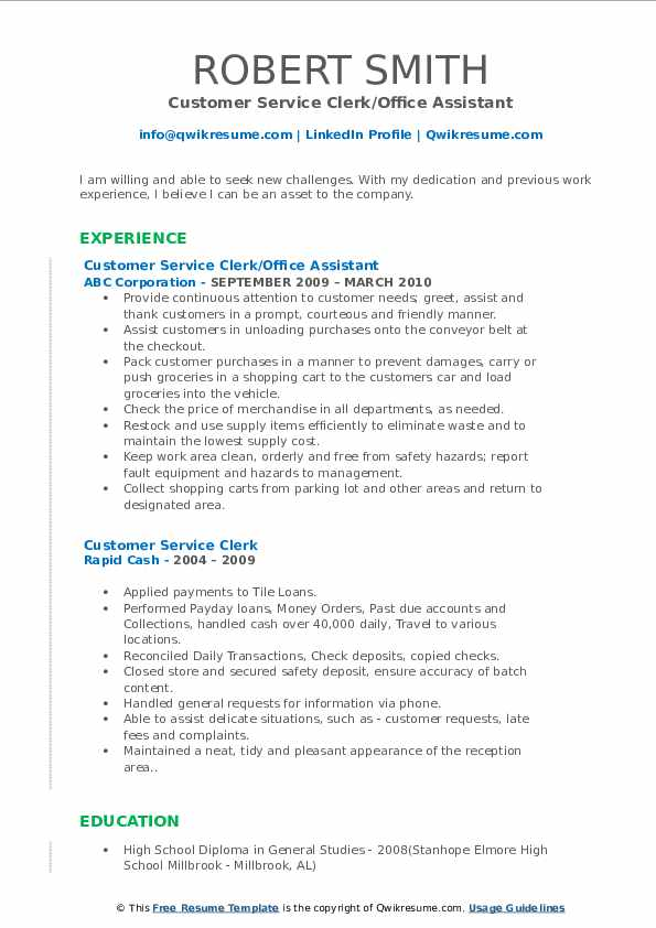 Customer Service Clerk Resume Samples Qwikresume