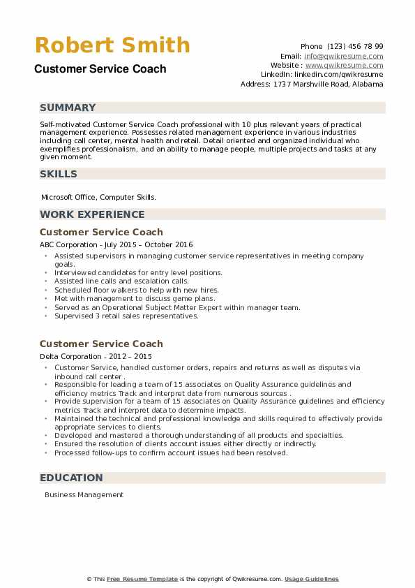 Customer Service Coach Resume example