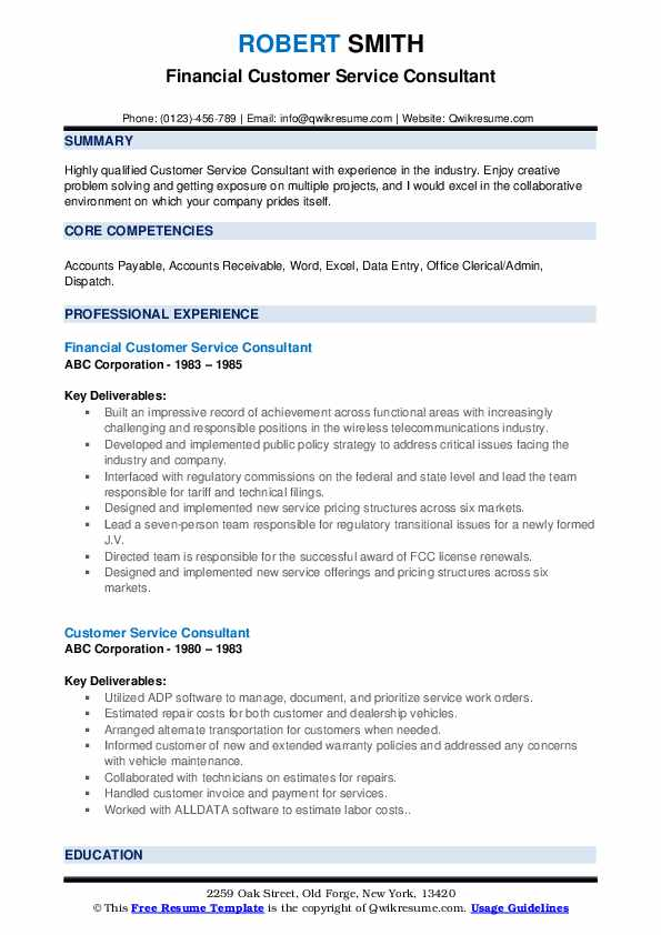 Financial Customer Service Consultant Resume Template