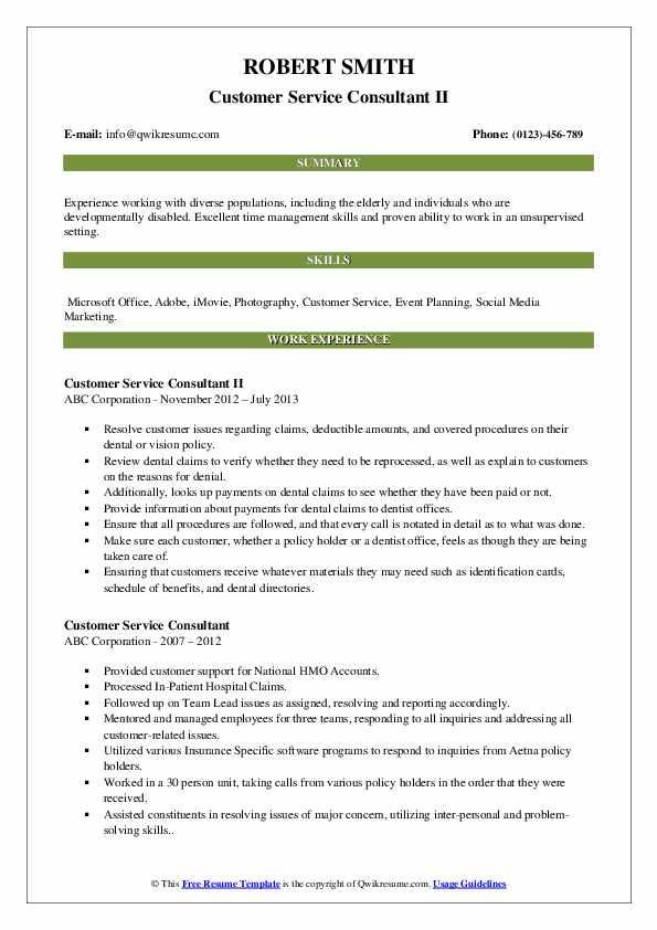 Customer Service Consultant II Resume Template