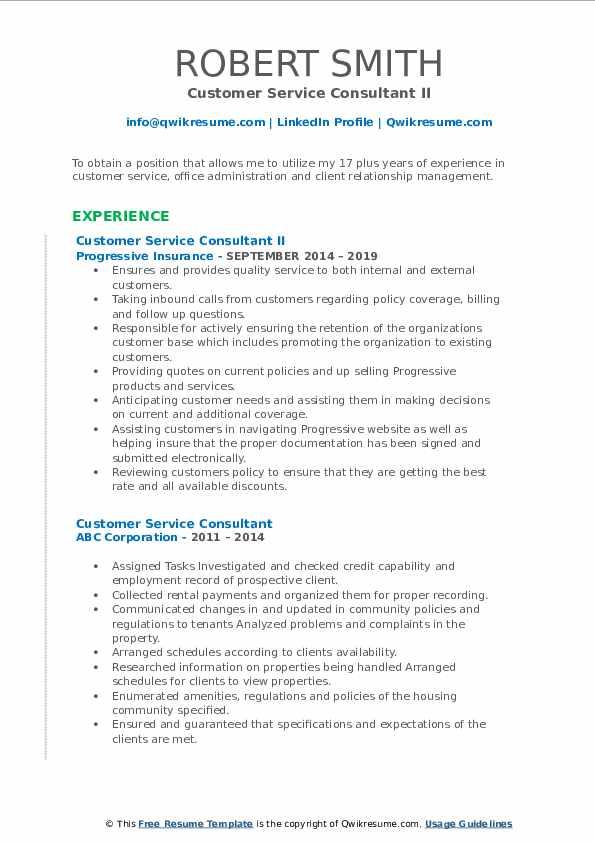 Customer Service Consultant II Resume Sample