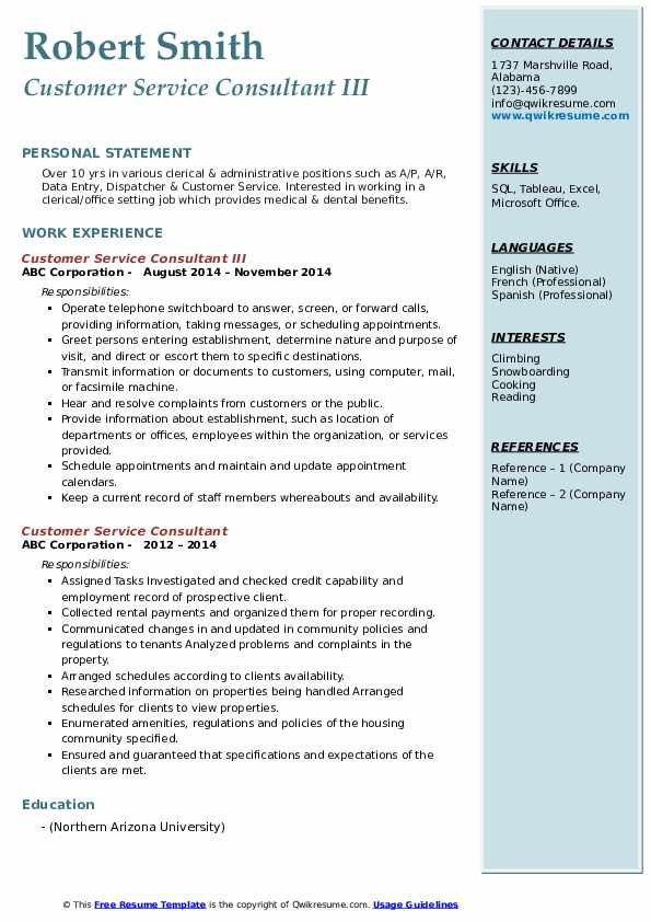 Customer Service Consultant III Resume Sample