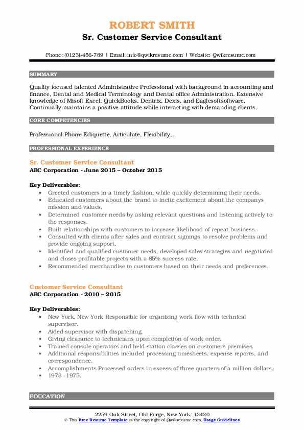 Sr. Customer Service Consultant Resume Example